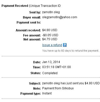1º Pago de Silksbux ( $4,80 ) Silksbuxpayment