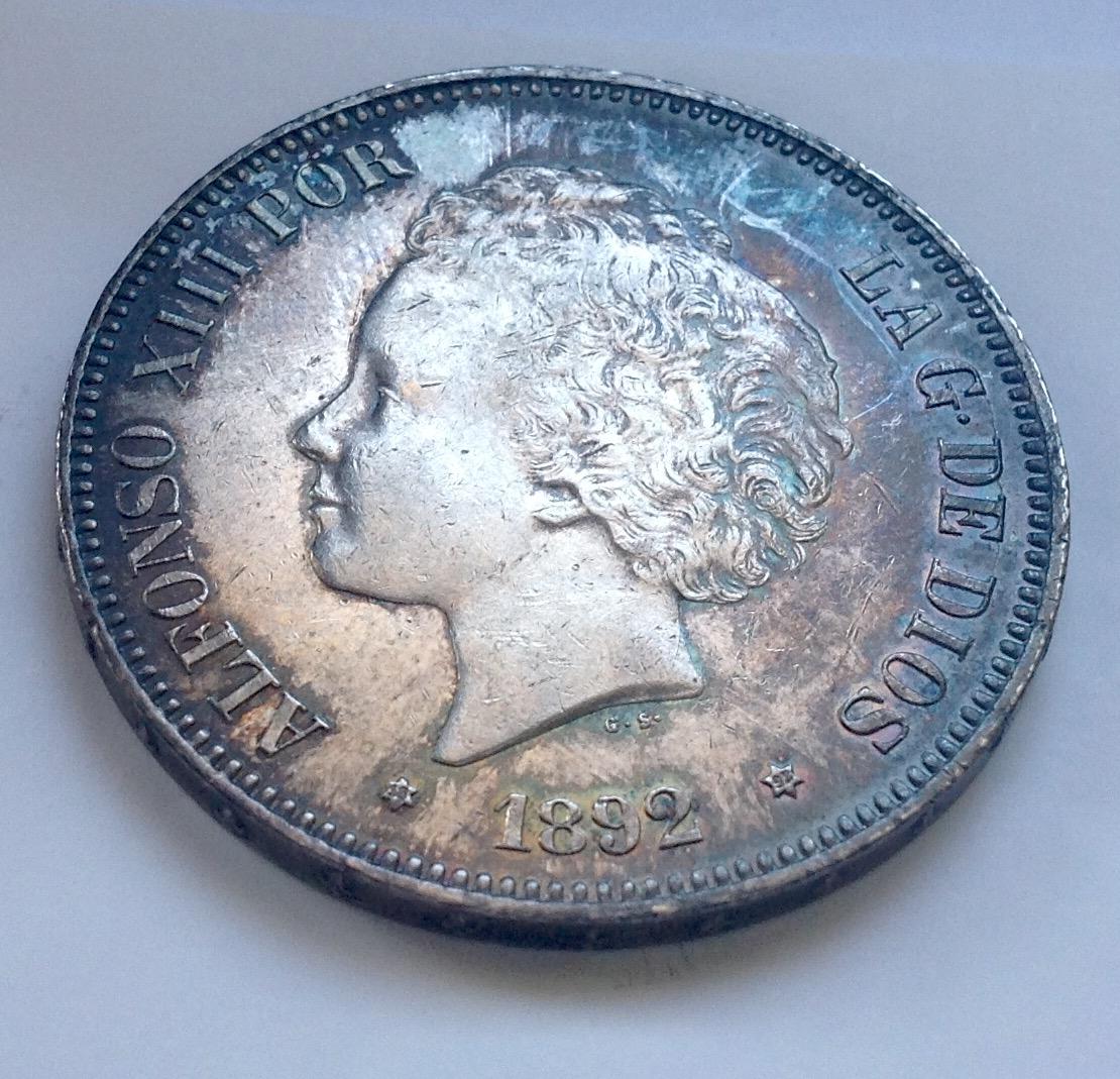 5 pesetas 1892. Alfonso XIII IMG_3343