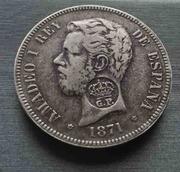 5 pesetas 1871. Amadeo I (Resello Gobierno Portugués) IMG_3771