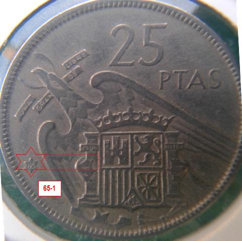 Geometría de las estrellas de las monedas de 25 pesetas 1957* 65_1_E