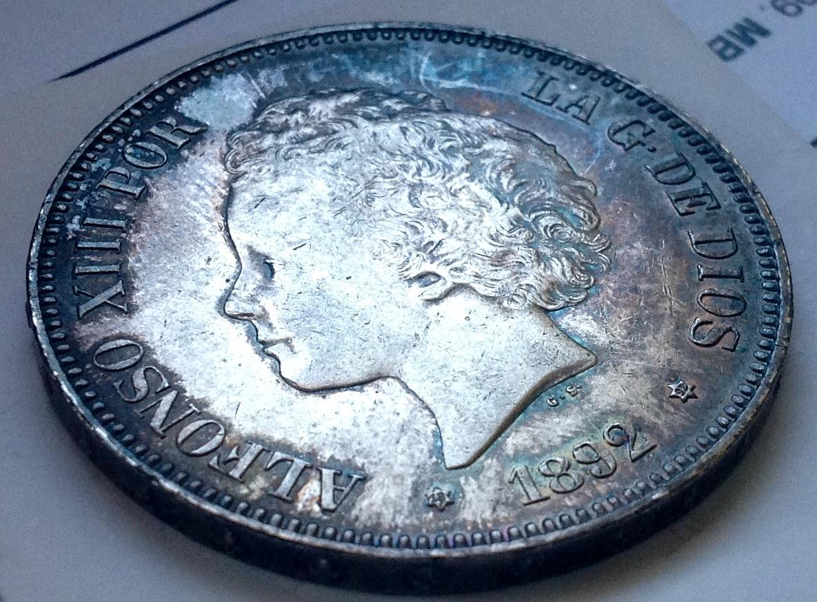 5 pesetas 1892. Alfonso XIII IMG_3346