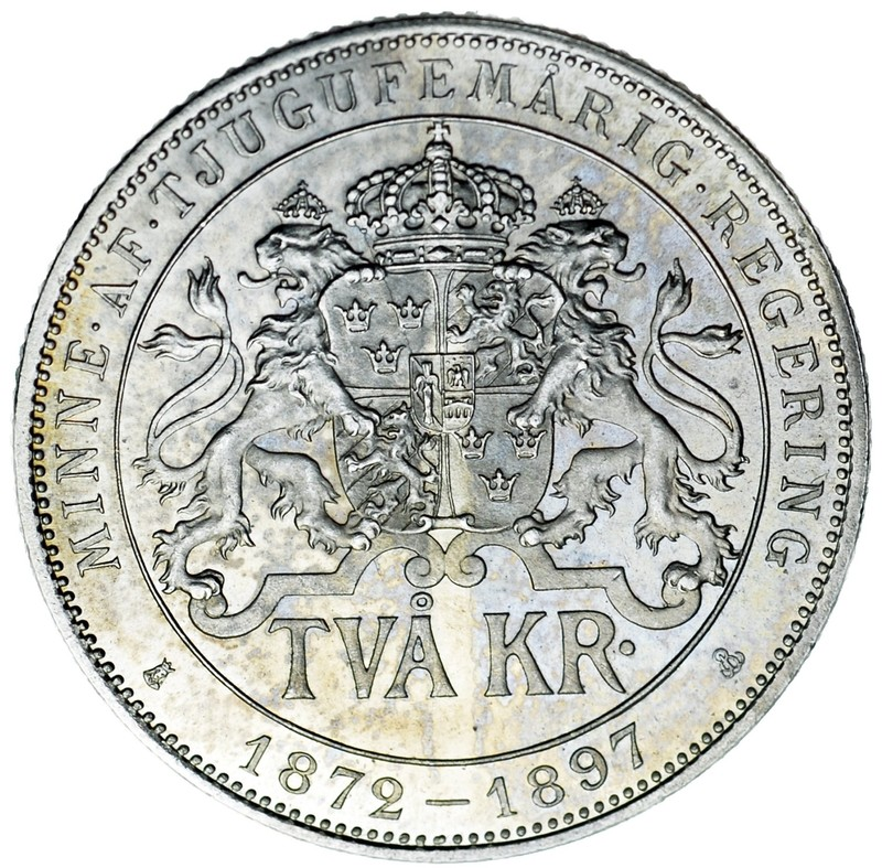 2 Coronas 1897. Óscar II de Suecia y Noruega. 25 Aniversario. Dedicada a Corvera. 3c40eeb0ab57852a846471f15b698552