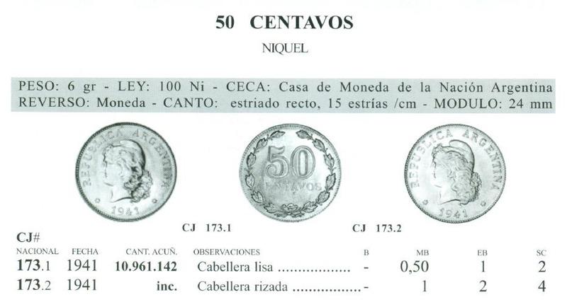 MONEDA DE 50 CENTAVOS (CABELLERA RIZADA) - ARGENTINA 1941 IMAGEN_CATALOGO_JANSON