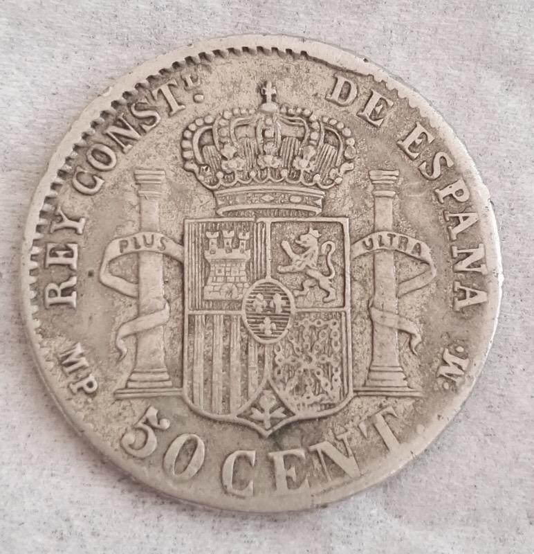 50 Céntimos Alfonso XIII 1889 Reverso incuso IMG_8945