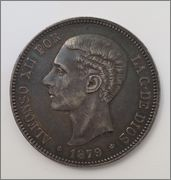 5 PESETAS 1879 (*18-79) MADRID EM M Image