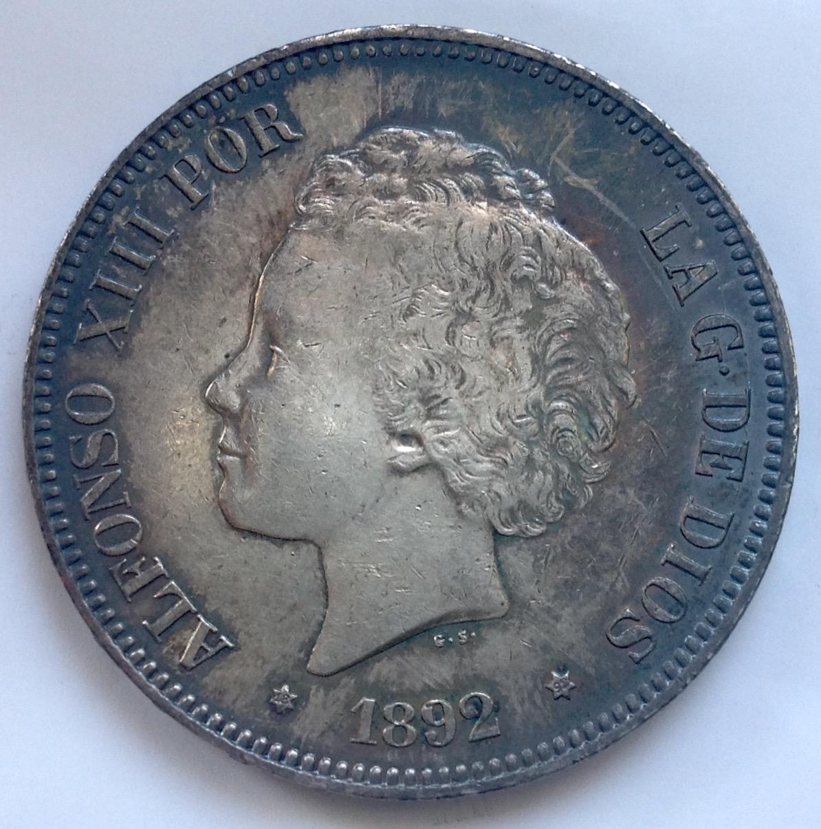 5 pesetas 1892. Alfonso XIII IMG_3342