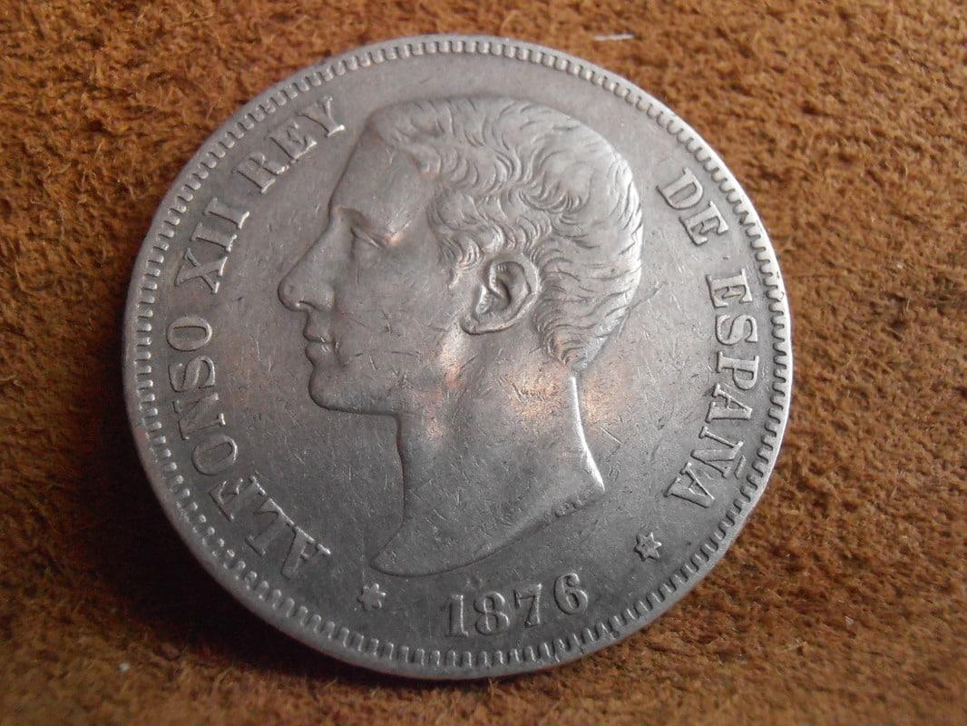 5 Pesetas 1876. Alfonso XII. Oreja rayada P2250001
