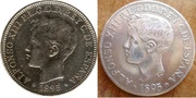 1 peso Alfonso XIII 1895 Puerto Rico. 5_1_Peso_1895