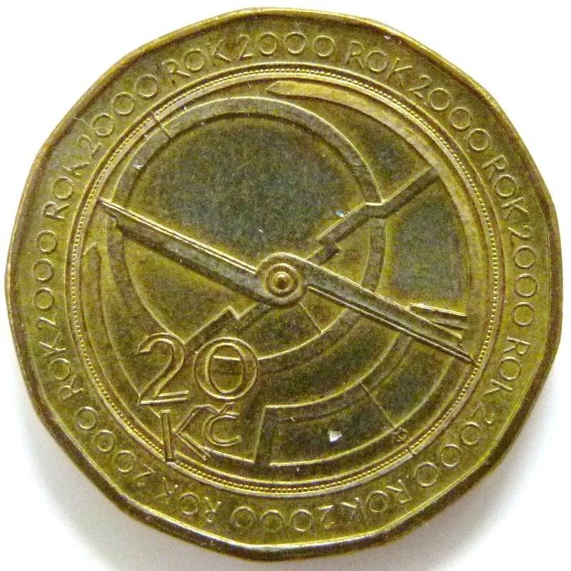 20 Coronas. República Checa (2000) Astrolabio CZE_10_Coronas_ROK_2000_astrolabio_rev
