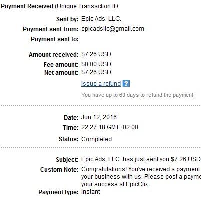 6º Pago de EpicClix ( $7,26 ) Epicclixpayment