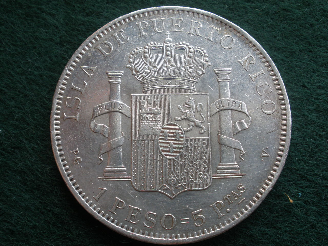 1895. Alfonso XIII 1 peso Puerto Rico P1010200