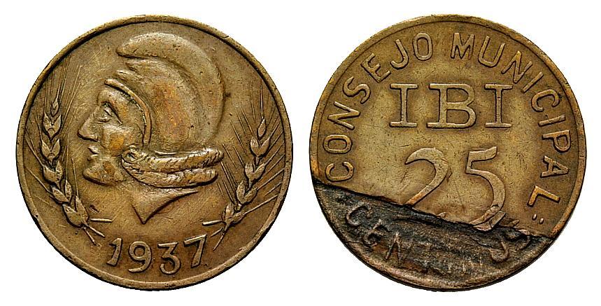 Pruebas de las monedas de 1 peseta de Ibi en níquel 1574706