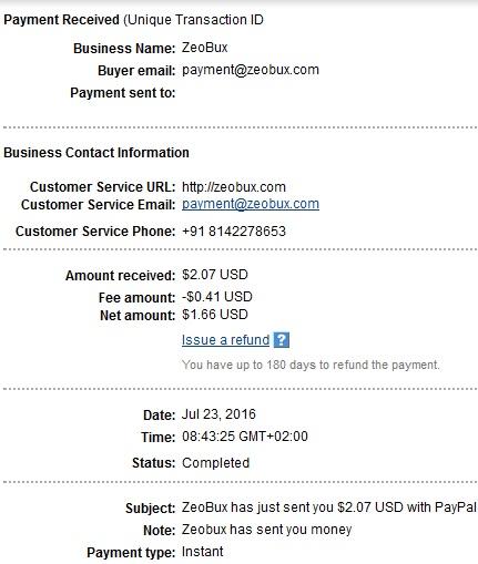 1º Pago de Zeobux ( $2,07 ) Zeobuxpayment