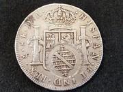 8 reales 1793. Carlos IV. Santiago. Resello 960 Reis Brasil R422_1