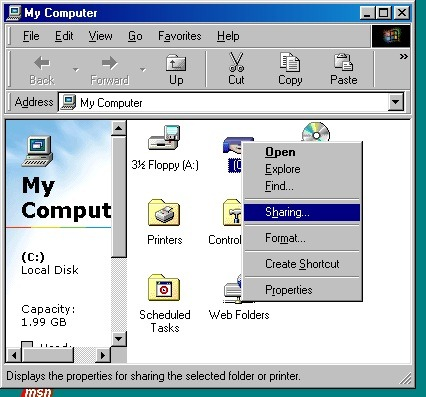 How to Network Windows 7 and Windows 98 WIN98_SS3