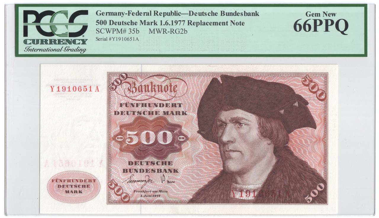 Billetes de reemplazo, no españoles Ger500