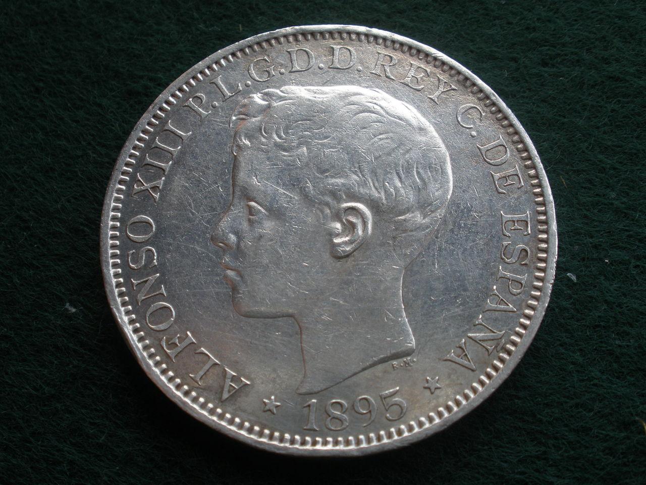 1895. Alfonso XIII 1 peso Puerto Rico P1010199