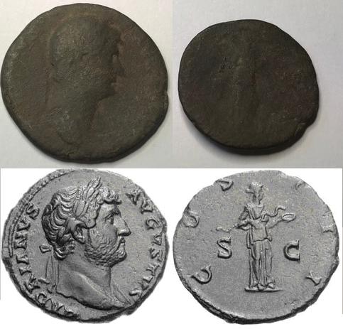 As de Adriano. Salus estante a dcha. dando de comer a serpiente. Roma. Image