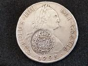 8 reales 1793. Carlos IV. Santiago. Resello 960 Reis Brasil R422