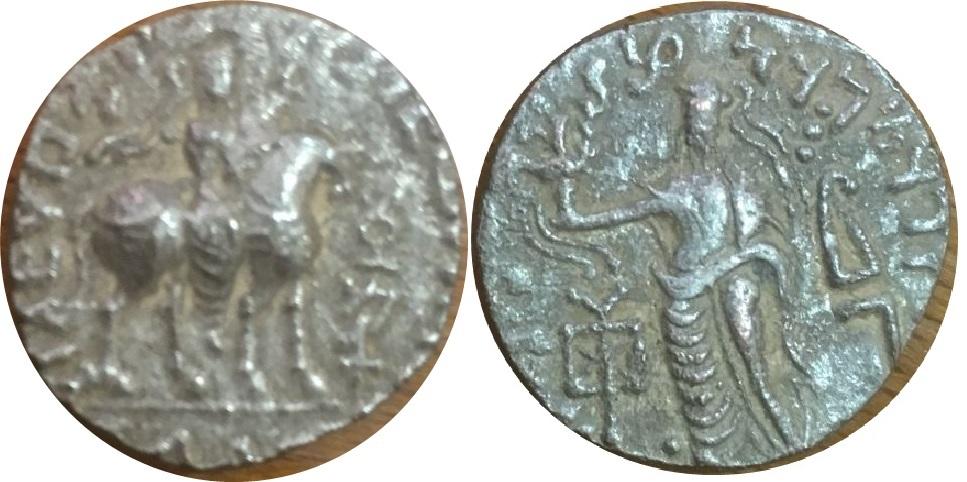 Tetradracma de Abdagases. Zeus Nicéforo a izq. Taxila Abdagases