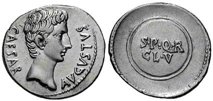 Denario semifraccionado de Augusto. S P Q R CL V en dos líneas inscripto en escudo redondo. Caesaraugusta,  Image