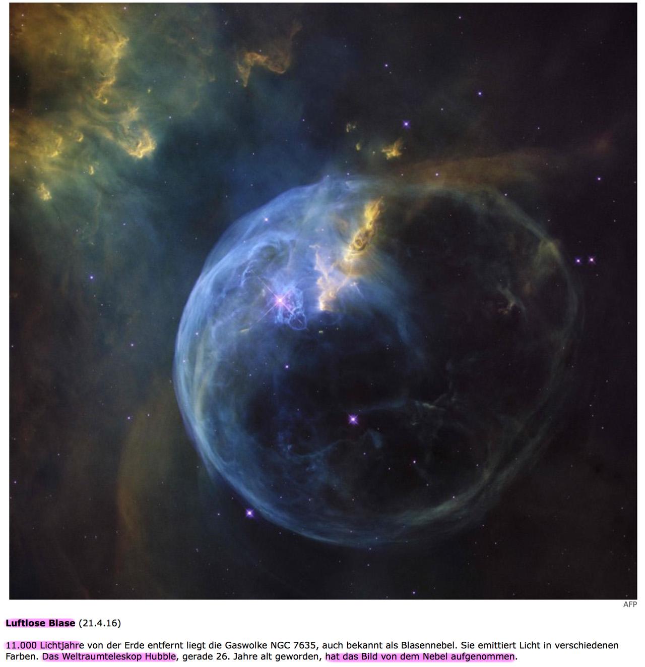 Die Erde, in der wir leben und der Raum, der die Welt ist - Seite 28 Blase