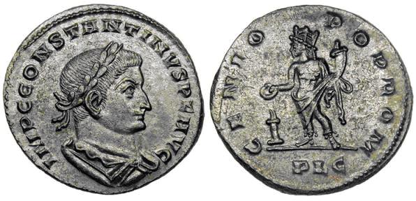 A1 de Constantino I Magno. GENIO POP ROM. Ceca Lugdunum. GENIO_CONST