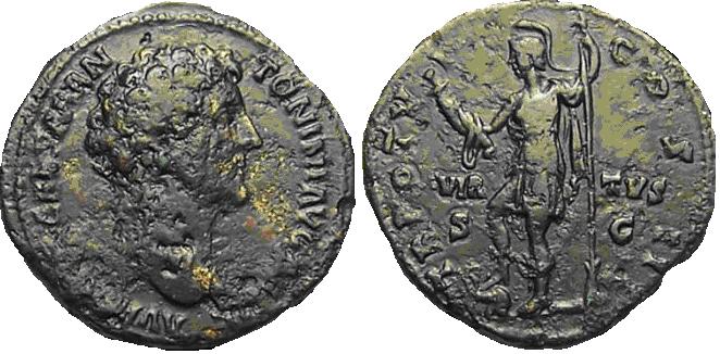 As de Marco Aurelio. TR POT VI COS II – VIR / TVS - S C. Virtus estante. Ceca Roma. M_aurelio