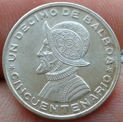 Decimo de Balboa de la plata de Panama 1953 (cincuentenario) Decimo_de_Balboa_Panama_1953_2