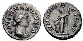 Denario de Faustina II. IVNONE REGINAE. Ceca Roma. Faustina_II