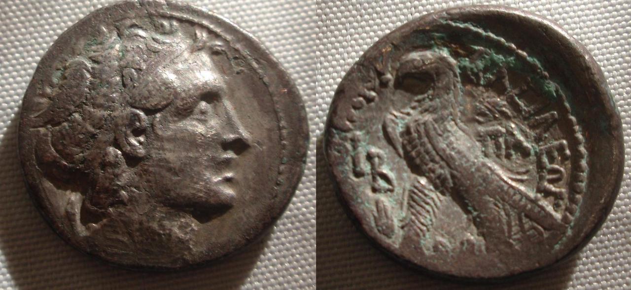 Tetradracma de Cleopatra VII. ΠTOΛEMAIOY ΒΑΣΙΛΕΩΣ. Alejandría Egipto_tetra