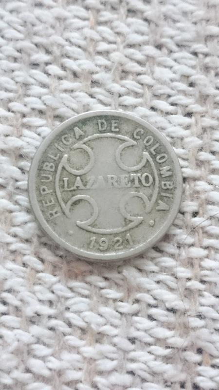 2 centavos 1921 Colombia lazareto.  DSC_0346