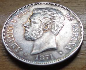 5 pesetas Amadeo I 1871 (*71) variante base columna corta 5_pesetas_Amadeo_I_1871_SDM_anverso_4
