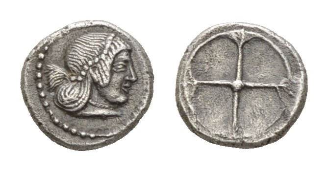Óbolo acuñado en Siracusa (Sicilia) entre 485-466 a.C. Jijijijihuhu