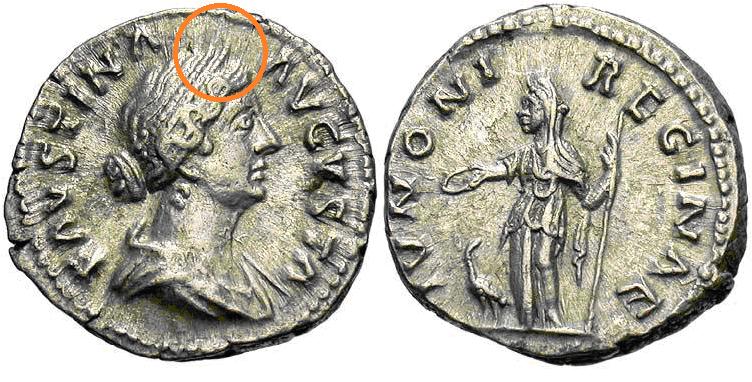 Denario de Faustina II. IVNONE REGINAE. Ceca Roma. Faustina