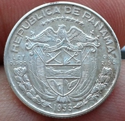 Decimo de Balboa de la plata de Panama 1953 (cincuentenario) Decimo_de_Balboa_Panama_1953_1
