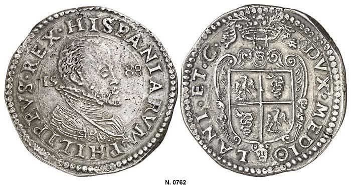 Ducatón de Felipe II, 1588 (Milán) 0762g