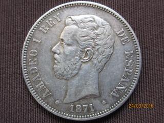 5 pesetas Amadeo I 1871 (*71) variante base columna corta 5_pesetas_Amadeo_I_1871_3_9