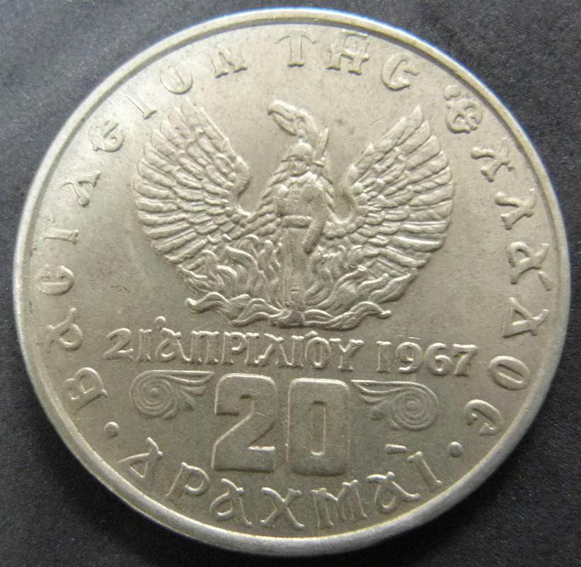 20 Dracmas 1960 Grecia GRE_20_Dracmas_1973_Reino_anv