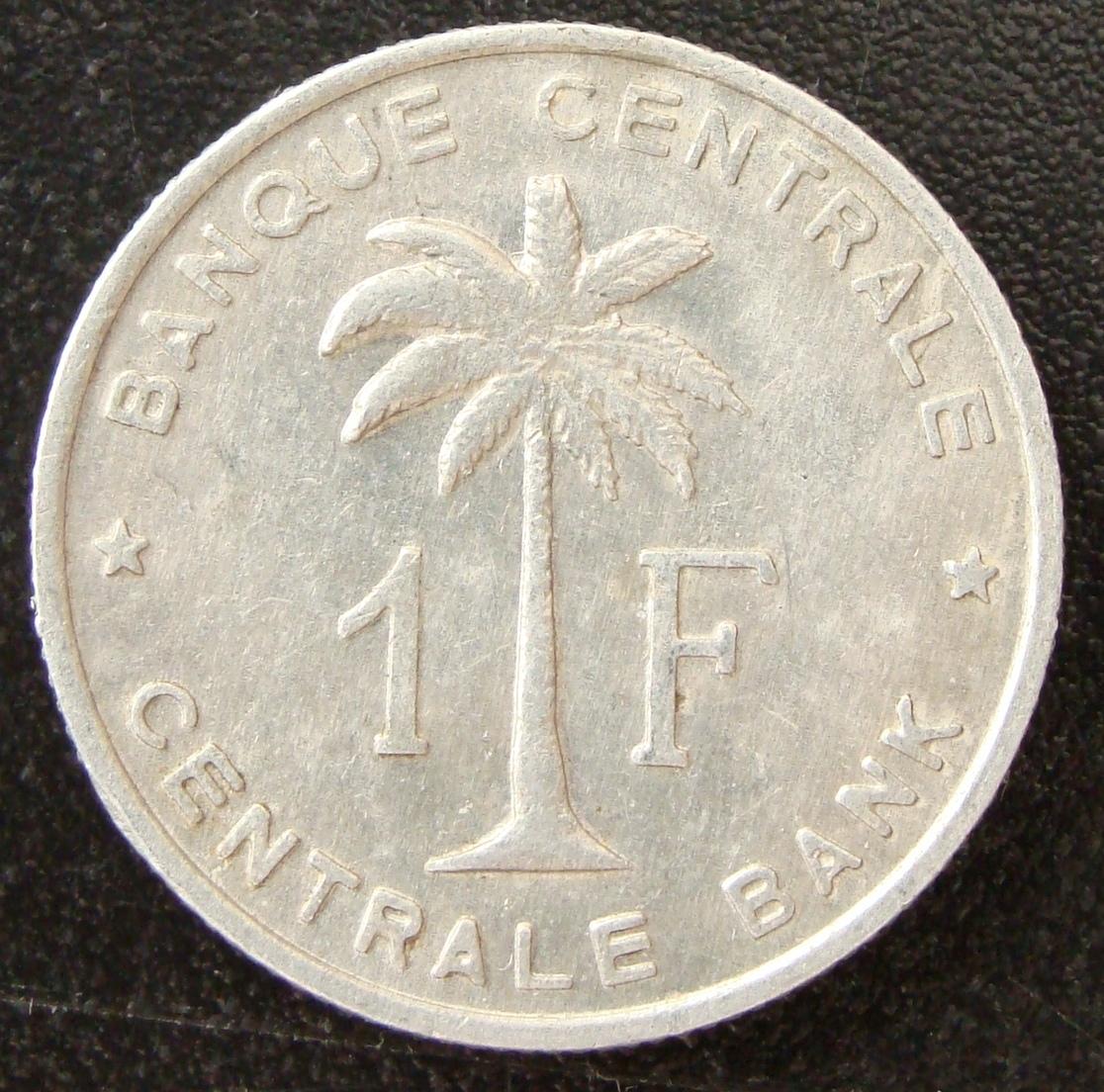 1 Franco. Congo belga (1959) RDC_1_Franco_1959_rev