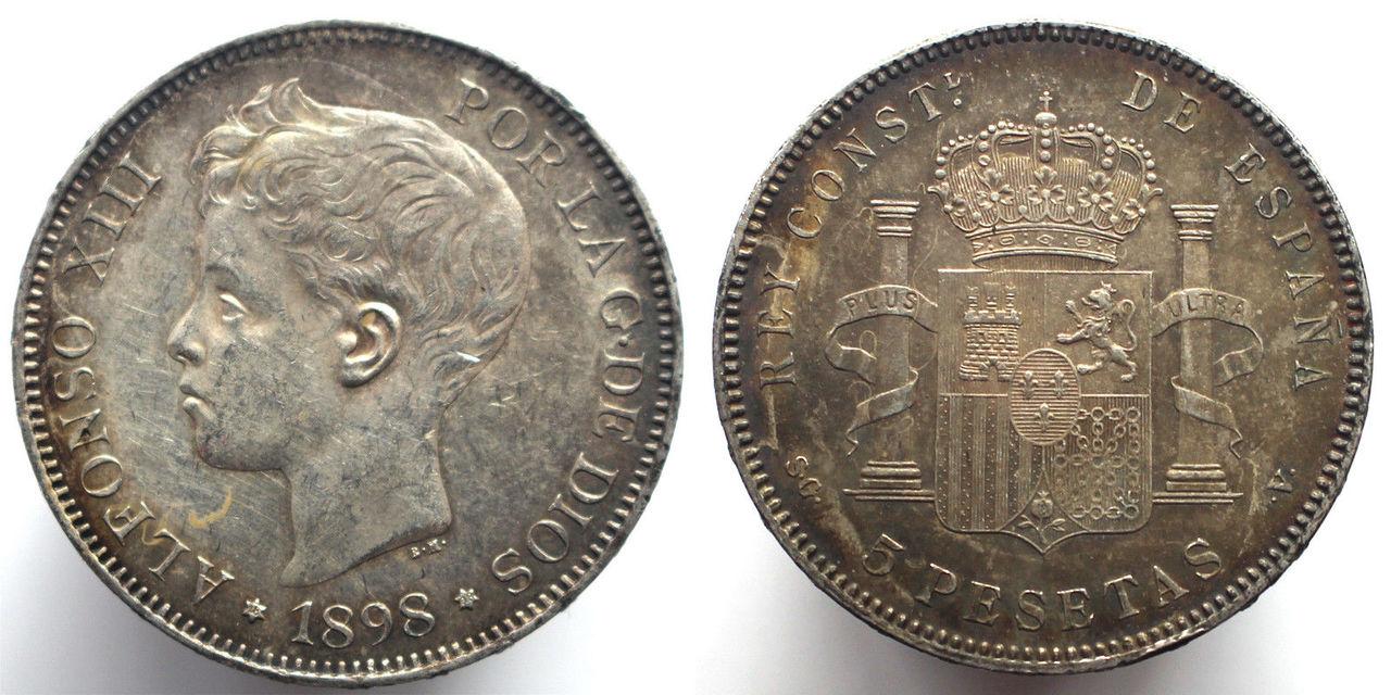 5 pesetas 1898. SGV. Alfonso XIII 57_3