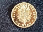 5 Marcos 1877 Saxony R405_1