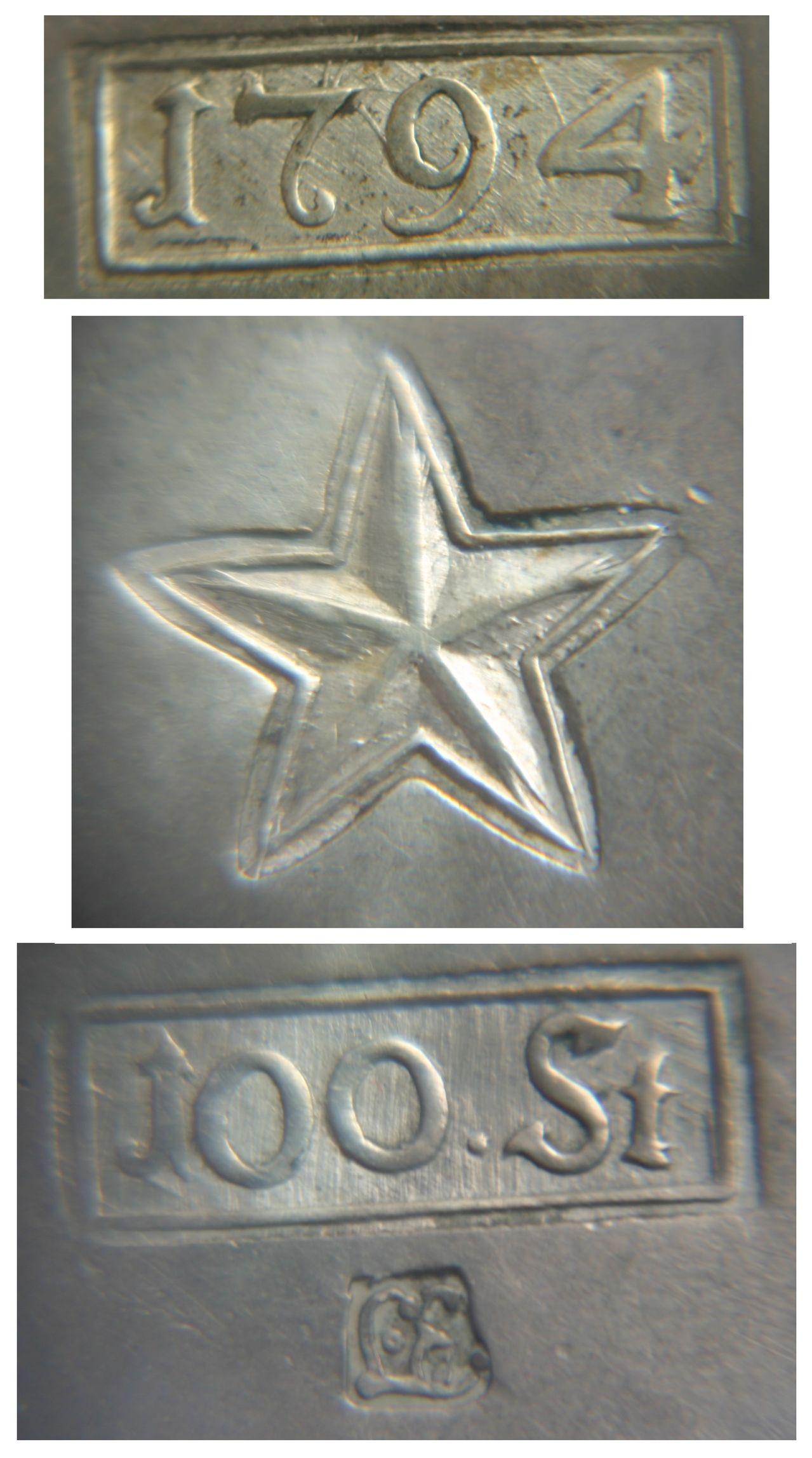 100 soles 1794. Maastricht. Stempels