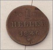 1 heller. Gran Ducado de Hesse-Darmstad. 1846   Image