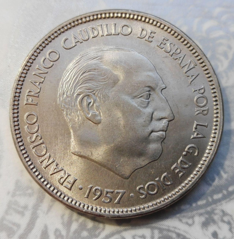 25 pesetas 1957 (*61). Francisco Franco. Dedicada a Estrella76 25_pesetas_63