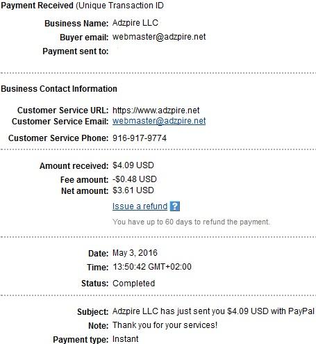 2º Pago de Adzpire ( $4,09 ) Adzpirepayment