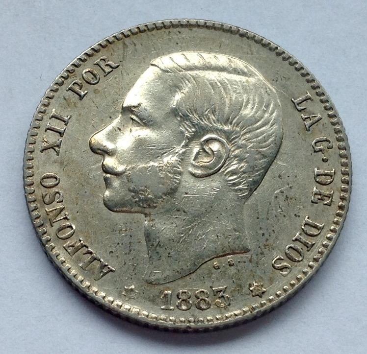 1 peseta 1883 Alfonso XIII Image