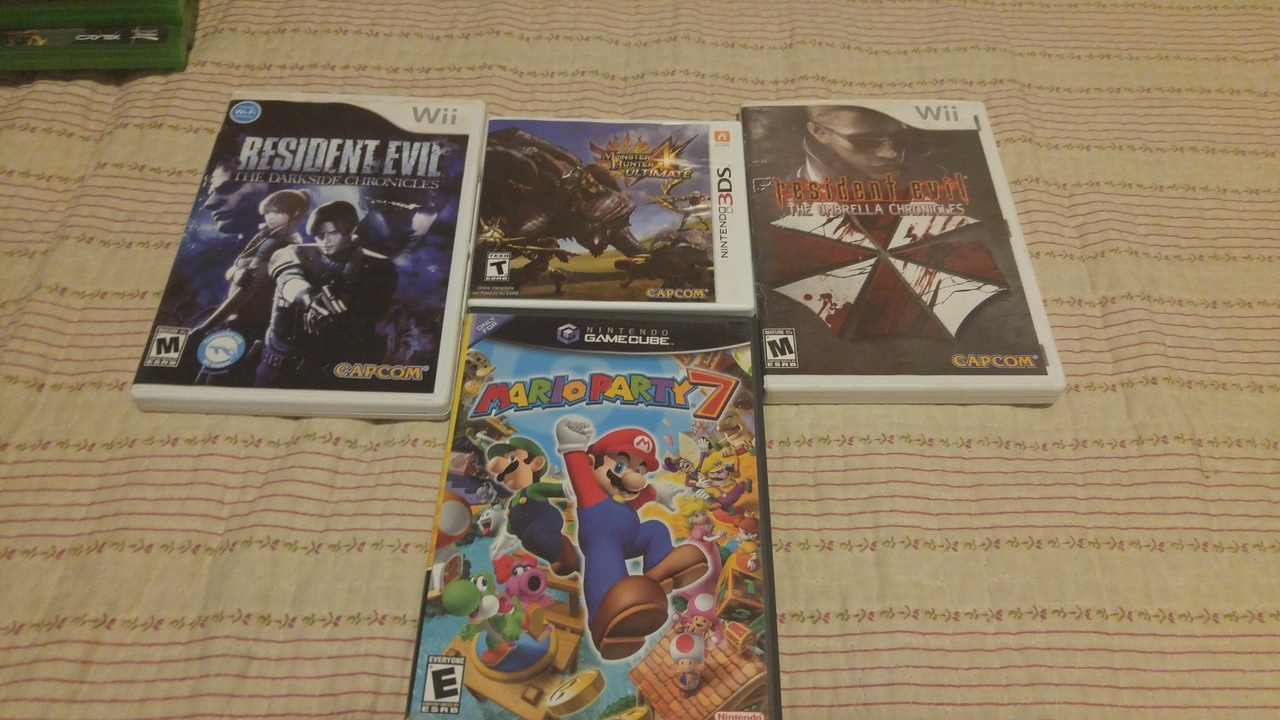 Monter Hunter 3ds, Resident evil wii, mario party 7 game cube, disney infinity e jogos xbox one 20160702_234927