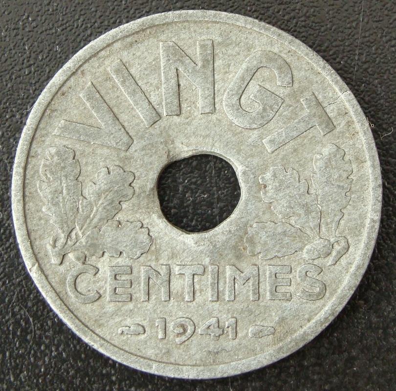 20 Céntimos Franco. Francia (1941) Estado Francés FRA_20_C_ntimos_Franco_1941_rev