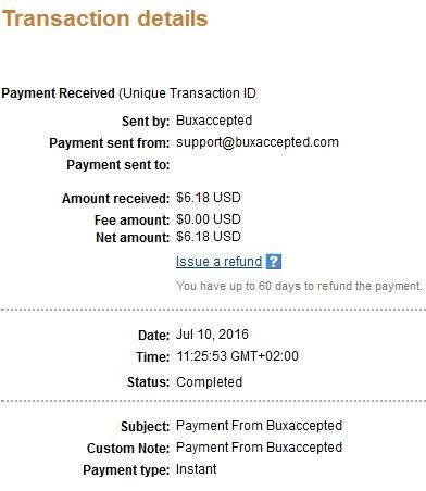 2º Pago de Buxaccepted ( $6,18 ) Buxacceptedpayment
